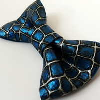 Blue Real Leather Bow Tie Necktie Bowtie Black White Hand Painted Wedding Groomsmen Bow Tie Man Men Lady Dickie Bow BowTie4You