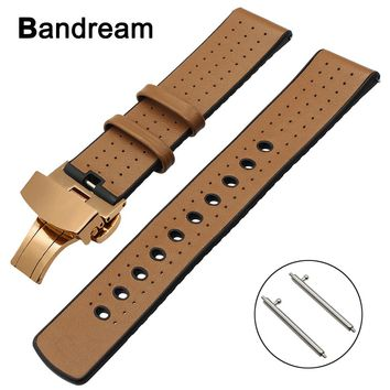 22mm Genuine Leather+Silicone Rubber Watchband for Tissot Mido Luminox Hamilton Maurice Lacroix Watch Band Butterfly Clasp Strap
