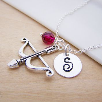 Bow & Arrow Charm Swarovski Birthstone Sterling Silver Bridesmaid Necklace / Gift for Her