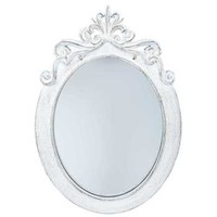 Distressed White Styrene Ornate Oval Mirror | Hobby Lobby | 997726