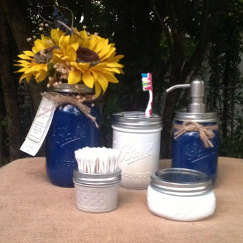 Nautical Navy Bath accessories, Mason jar, soap dispenser, 5 PC set, ocean, shabby, blue, beach, bathroom, decor, cottage, wedding, gift