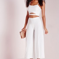 Missguided - Crepe Cut Out Bralet Top White