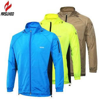 ARSUXEO Men Cycling Jacket Hooded Windproof Waterproof Outdoor Sport Running Jacket MTB Cycling Bike Bicycle Wind Coat Clothing