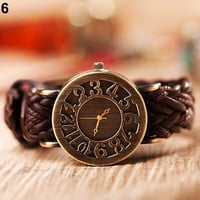 Women's Retro Girl's Sleek Weave Leather Bronze Dial Quartz Wrist Watch = 1956992068