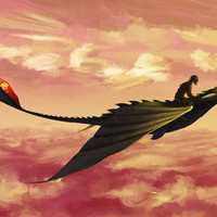 Flying - Hiccup and Toothless Art Print by bandit | Society6