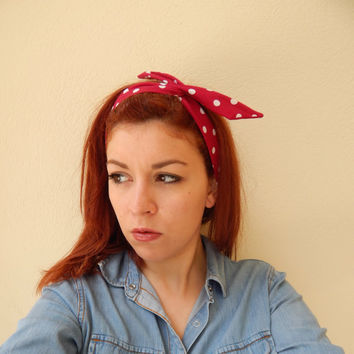 Red Polka Dot Wired Bandana - Wired Turband - Rockabilly Style Red Headband - Summer Hair - Beach Hair Band - Twisted Wire Bandana