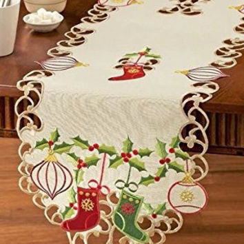 Green Red Christmas Stockings Ornaments Holly Embroidered Table Runner