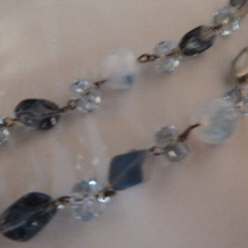 Vintage Blue Crystal Glass Stone Laguna Waterfall Necklace Choker Silver Costume Jewelry