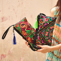Vintage Embroidery Women's Handbag National Retro Double Faced Embroidered Day Clutch Mobile Phone Bag Long Wallet Coin Purse