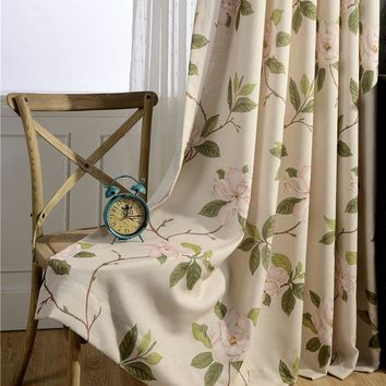 Retro pastoral style printed window curtain for home and cafe shop linen look curtain