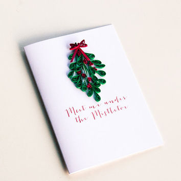 Christmas Card For Couples - Under the Mistletoe Christmas Card - Kissing Christmas Card - Romantic Christmas Card