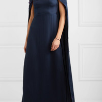 Safiyaa - Celine embellished hammered silk-satin gown