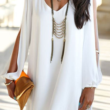 White V-Neck Long Sleeve Chiffon Dress