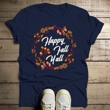 Men's Happy Fall Y'all T Shirt Floral Wreath Graphic Tee Season Shirts It's Fall Yall TShirt