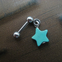 Turquoise Star Tragus Ear Bar Jewelry 16g 16 G Gauge Cartilage Helix Piercing Barbell