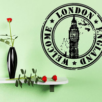 Wall Decal Sticker Unique Art Decor London Stamp Big Ban Symbol Tower 1356