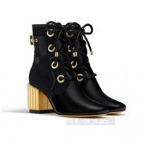 Indie Designs Dior Inspired Crinkled Black Lambskin Leather Canvas Ankle Boots