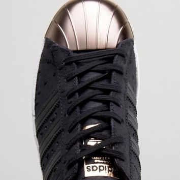 adidas Originals Black Metallic Superstar Sneakers With Rose Gold Toe Cap at asos.com