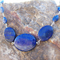Wire Wrapped Polished Lapis Lazuli Stones on Hand-Looped Sterling Silver Wire Choker Necklace with S-Hook Clasp
