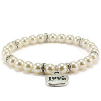 Pearl Stretch Bracelet with Love Charm