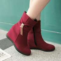 New Women Red Flat Within The Higher Bow Casual Ankle Boots