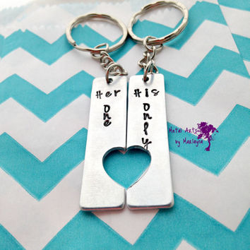 "SALE Broken Heart Key chains ""Her One His Only"" Key Chains Couple Key Chains Jewelry BFF Keychains boyfriend Present Couple Jewelry Best Fri"
