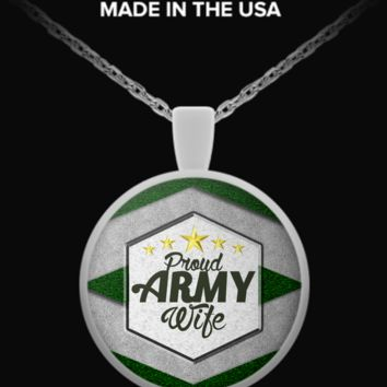 Proud Army Wife Necklace (5 Golden Stars) pawgoldenstars