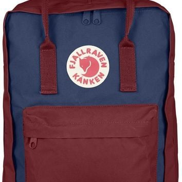 Fjallraven Kanken Durable Backpack Unisex Lovers' School Travel Bag( Royal Blue/Ox Red)