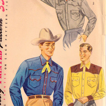 1950s Mens Western Cowboy Shirt Vintage Sewing Pattern Simplicity 4150 Neck 15.5 Chest 40""