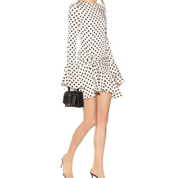 Monique polka-dot silk-blend dress