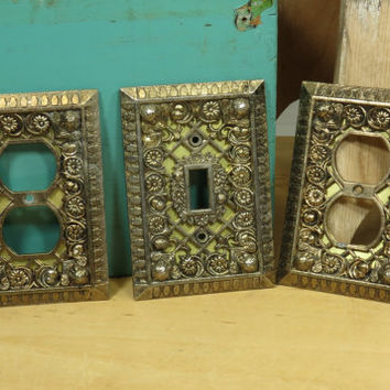 Cherub Filigree Lattice Light Switch and Outlet Covers Metal Vintage 1930s or 1940s