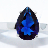 2 Carat Blue Sapphire Pear Ring .925 Sterling Silver Rhodium Finish White Gold Quality