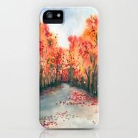 iPhone 5 Autumn Journey Case - Landscape Painting - Brazen Art Cell Phone Cover  - iPhone 5 4 4s 3g Case