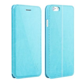 For Apple iphone 6 6s Leather Case,4.7 inch Protective Folio Case Flip Cover Back Stand(Blue)