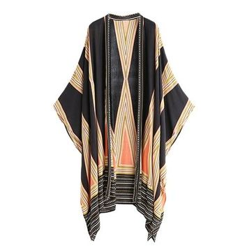 Sheinside Boho Bohemian Blouse Women Multicolor Vintage Geo Print Casual Summer Tops Fashion Loose Beach Long Sleeve Kimono