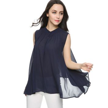 Girl summer loose pleated chiffon blouses ruffles irregular sleeveless tops blusa feminina female shirts casual tops
