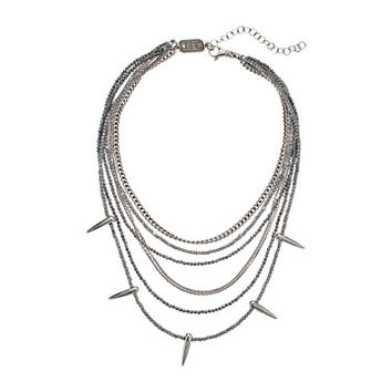 King Baby Studio Multi Layered Necklace w/ Hematite, Silver Chain & Spikes