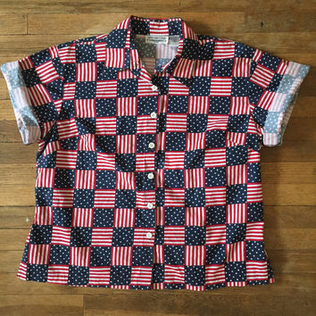 Vintage USA flag button-down collared shirt   womans large XL or mens medium   patriotic americana american flag blouse   july 4 tops unisex