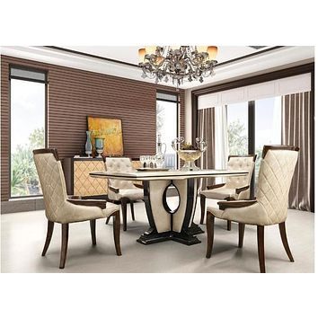 Wood Base Glossy Dining Table - And Chair