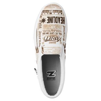 Vintage Newspaper Typography Old Ads Funny Slip-On Sneakers
