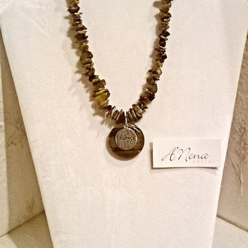 "Necklace For Everyone/ Unisex: Tiger Eye & 925 Sterling Silver  "" Balance ""  Reversible By ANena Jewelry"