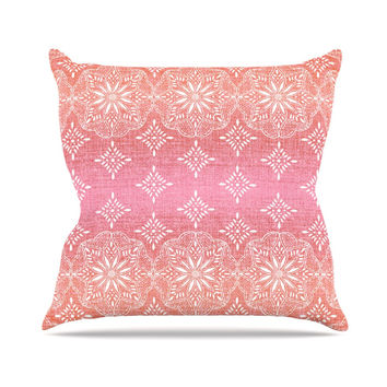 "Suzie Tremel ""Medallion Red Ombre"" Pink Throw Pillow"