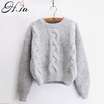 H.SA Women Sweaters Warm Pullover and Jumpers Crewneck Mohair Pullover Twist Pull Jumpers Autumn  Knitted Sweaters Christmas