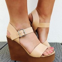 Sunny Afternoon Wedges: Nude
