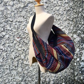 Boho Tribal Ikat Backpack Crossbody Bag for Festival travel Hippie Southwestern Style Nepali Woven fabric Luggage Bohemian bag 2in1 gift