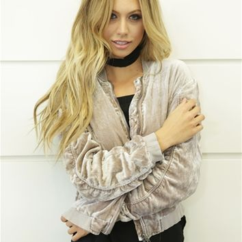 Free People Rouched Velvet Bomber in Sand