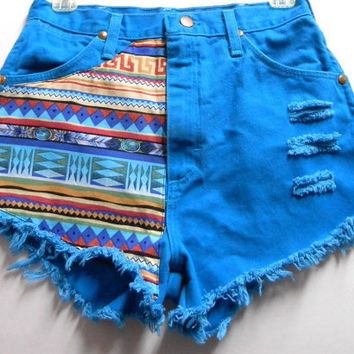 Vintage High Waist  Turquoise Denim Shorts Tribal Print  Waist  26   inches