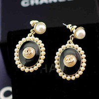 Chanel Women Fashion Pearl Stud Earring Jewelry