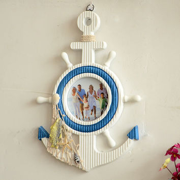 Wooden Anchor Mediterraneo Vintage Wall Nautical Home Decor Nautical Zakka Anchor Photo Frames Wood 2017 Crafts Wooden Anchor