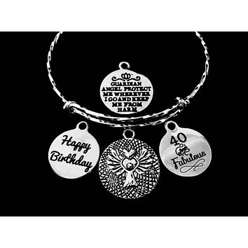 Happy Birthday 40th Guardian Angel Jewelry 40 and Fabulous Adjustable Bracelet Silver Expandable Charm Bangle One Size Fits All Gift